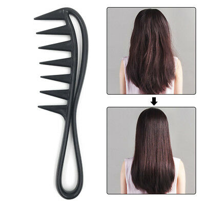 Wide Tooth Shark Plastic Curly Hair Salon Hairdressing Comb Massage Black New UK