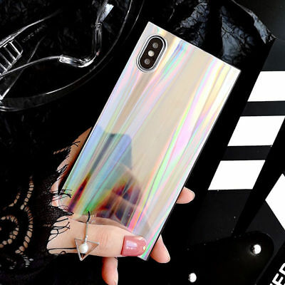 For iPhone X XMA XR XS 6 7 8 Shining Rainbow Square Laser Soft TPU Phone cases