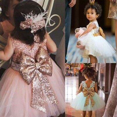 Toddler Baby Girls Sequins Bow Princess Wedding Party Lace Tulle Tutu Dress 1-6Y