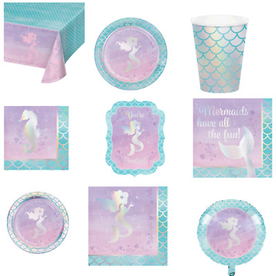 Iridescent Mermaid Girls Birthday Party Tableware Tablecover Napkins Plates Cups