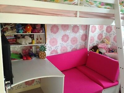 High Sleeper Bed With Desk And Futon In Pink