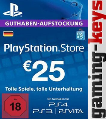 25 EUR DE PlayStation Network Card - PSN PS4 PS Vita 25€ Euro Guthaben DE