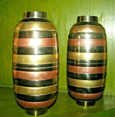 Solid Brass Metal Vases Looks like Copper Brass Silver India Set of 2 EUC