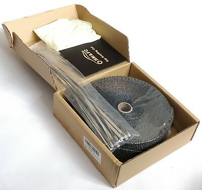 15M Titanium Exhaust Heat Wrap Black Insulating Tape + 10 Cable Ties 30Cm – New!