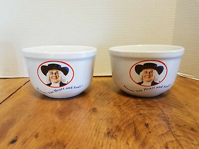 """2 Vintage 1999 QUAKER OATS Warms Your Heart and Soul Cereal Mixing Bowls 5 1/2"""""""