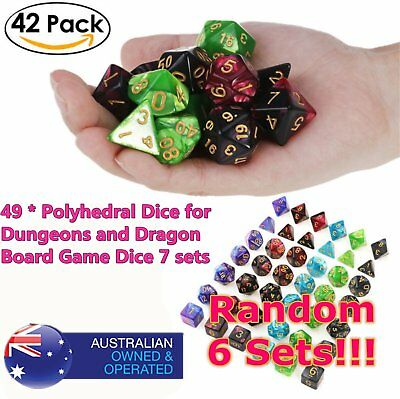 6set 42pcs Polyhedral Dice DND RPG Game Poker Card Dungeons Dragons Party