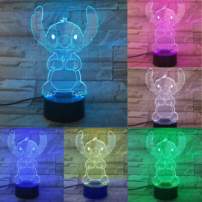 Stitch Cartoon 3D Lamp Table Night Light USB Cable 7 Color Decor for Xmas Gift