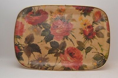 Gorgeous Large Floral Design Fibreglass Vintage Tray / Serving Tray