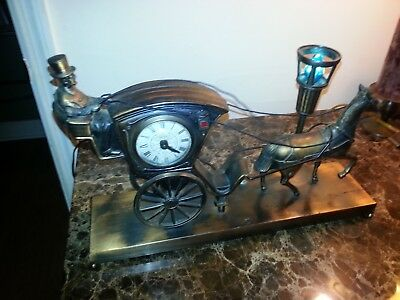 Vintage United Metal Goods Coach & Horse Clock #701 w/ Lighted Street Lamp