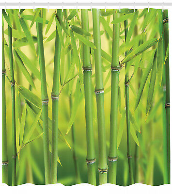 Green Shower Curtain Bamboo Sprout Stem Forest Print For Bathroom