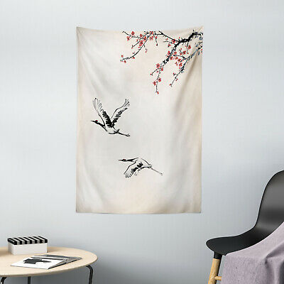 Japanese Tapestry Cherry Trees in Spring Print Wall Hanging Decor
