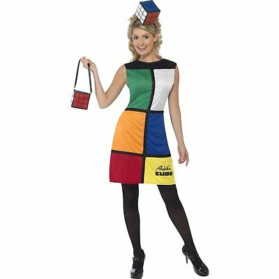 Rubik's Cube Costume 80's Retro Rubix Ladies Women's Fancy Dress Costume