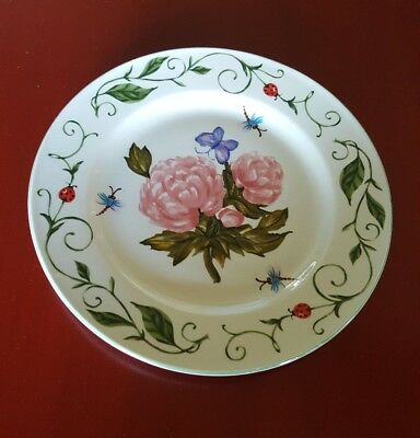 Tabletops Unlimited BOTANICAL GARDEN Dinner Plate Flowers Dragonflies Ladybugs
