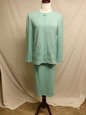 10 Aqua Castleberry Santana Knit 2 Piece Skirt Suit
