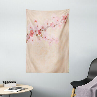 Japanese Tapestry Pink Cherry Blossoms Print Wall Hanging Decor
