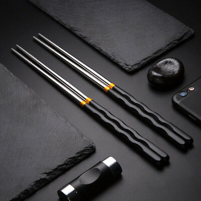 HK- Stylish Stainless Steel Anti-skid Hotel Restaurant Home Chopsticks Cutlery O