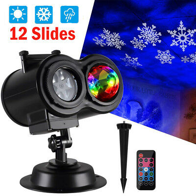 12 Slides Ocean Wave Snowflake Christmas Projector Light LED Outdoor Laser Light