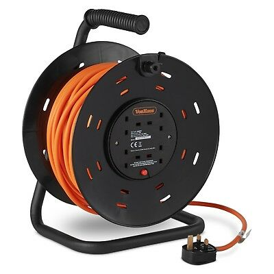VonHaus 50m Extra Long 4-Gang Metal Frame Extension Reel with Thermal Cut Out