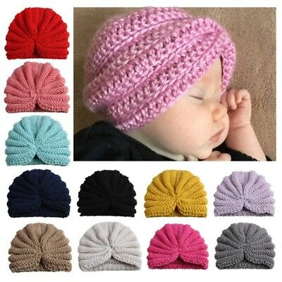 Newborn Baby Boys Girls Turban Knitt Head Wear Kids Outdoor Warm Beanie-Hat Cap