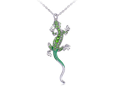 Alilang Silvery Tone Green Rhinestones Long Tail Lizard Pendant Necklace