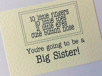 PREGNANCY ANNOUNCEMENT You're going to be a Big Sister cards / Big Brother card