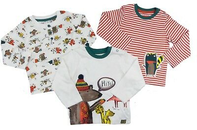 Baby Boys Three Pack Long Sleeved Tops Different Styles 0-3 Months to 12 Months