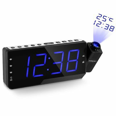 LCD Digital LED Projector Projection FM Radio Snooze Alarm Clock Large Screen QH