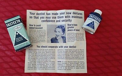 Fasteeth Sample Tin Denture Powder.. excellent condition. never opened