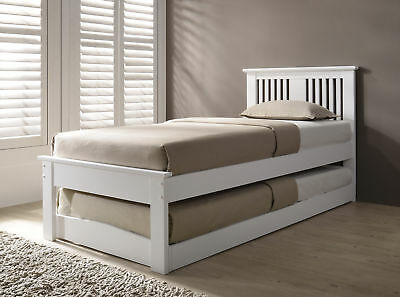 Halkyn Solid Wood Single Bed With Pull Out Trundle Guest Bed Various Colours