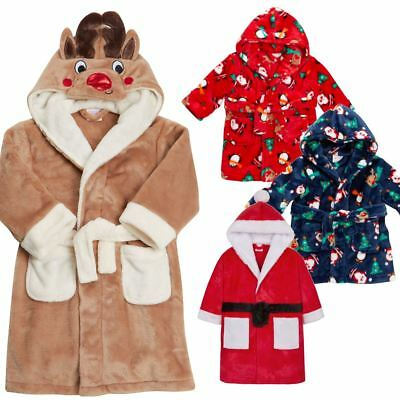 XMAS Kid Dressing Gown Robe Novelty Festive Gift Boy/Girl Christmas Fleece Plush
