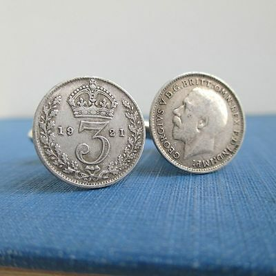 500 Silver Great Britain Coin Cuff Links - Repurposed Vintage 3 Pence UK Coins