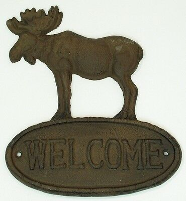 Large CAST IRON   Moose Welcome Sign Plaque Wall Mount  Lodge Rustic Brown