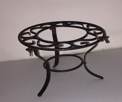 Small Vintage Rustic Scrolled Metal 3 Leg Plant Pot Stand