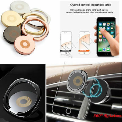 360° Finger Grip Ring Stand Magnetic Phone Holder Bracket Metal Plate Universal