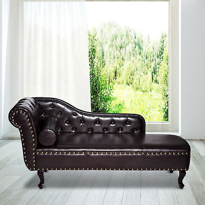 Faux Leather Chaise Lounge Vintage Sofa Corner Armchair Chesterfield Daybed Seat