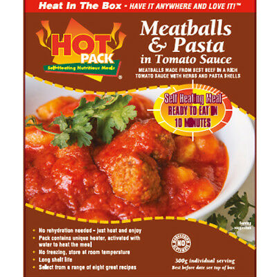 HOT PACK SELF HEATING MEAL IN A BOX MEATBALLS AND PASTA Pack of 24
