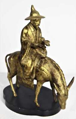 Old Chinese Imperial Horse/Donkey and Rider Gilt Statue big sculpture figure