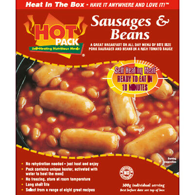 HOT PACK SELF HEATING MEAL IN A BOX SAUSAGE, BEANS & TOMATO SAUCE Pack of 24