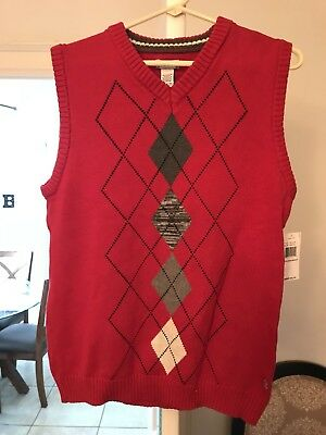 Nwt IZOD Boys Size 8 Red Cotton Sweater Vest