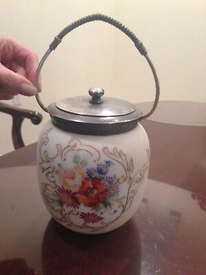 Antique Porcelain Biscuit Jar with metal handle and lid and enamel flowers