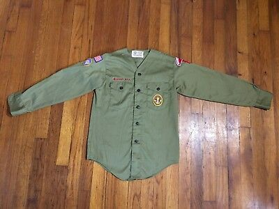 Vintage Boy Scout Uniform Shirt W/ Patches Long Sleeve No Collar Youth Boys BSA