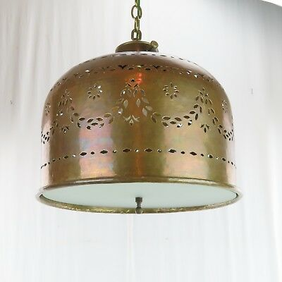VTG 1960s Hammered Pierced Brass Chandelier Swag Light Moroccan Style Card Table