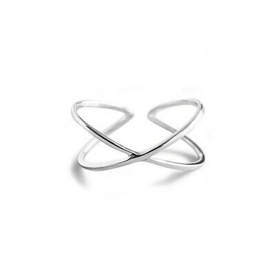 Solid 925 Sterling Silver Infinity Eternity Love Knot Criss Cross Hammered Ring