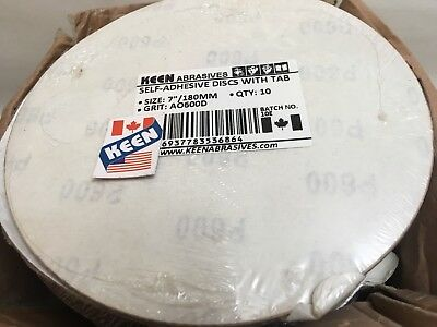 "Box Of 100- 600 Grit 7"" Sticky Face Tabbed  Sanding Disc KEEN ABRASIVES 36864"