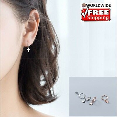 925 Sterling Silver Cross Hoop Earrings for Women Mini Drop Cuff Piercing Gift