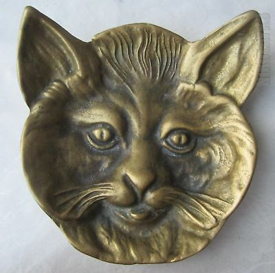 🔼  Cat Antique vintage bronze / brass ashtray / tray / plate, animal head face