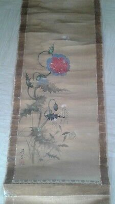 antique Japanese scroll painting on silk signed