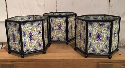 Lot Of 3 Six Sided Candle Holders. Purple, green, White And Orange. New (A30)