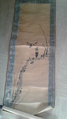 antique Japanese scroll painting on paper