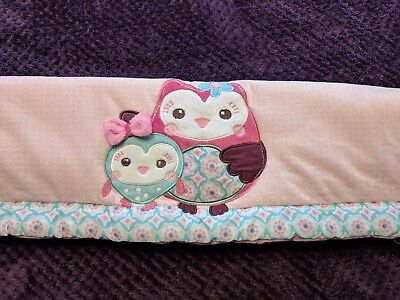 Summer Infant Who Loves You Nursery Crib Hugger Rail Protector Baby Owls Pink